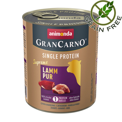 Консерва за кучета монопротеин от агнешко месо - GranCarno Single Protein Supreme Lamb Pure - 800гр