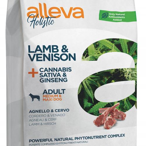 """Холистична храна за кучета със CDB масло от канабис Alleva® Holistic """"Lamb & Venison + Cannabis Sativa & Ginseng"""" - 2kg"""