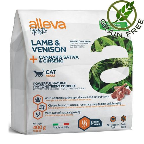 """Холистична храна за котки с агнешко и еленско Alleva® Holistic """"Lamb & Venison + Cannabis Sativa & Ginseng"""" Cat - 0.400kg"""