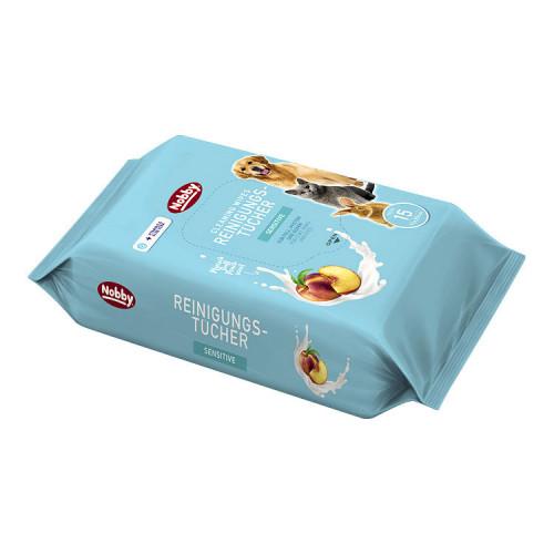 Кърпички за домашни любимци с натурално дезинфектиращо действие Nobby Cleaning Wipes Sensitive - 15бр.
