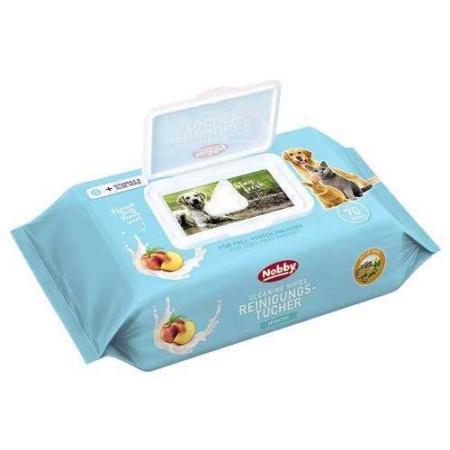Кърпички за домашни любимци с натурално дезинфектиращо действие Nobby Cleaning Wipes Sensitive - 70бр.
