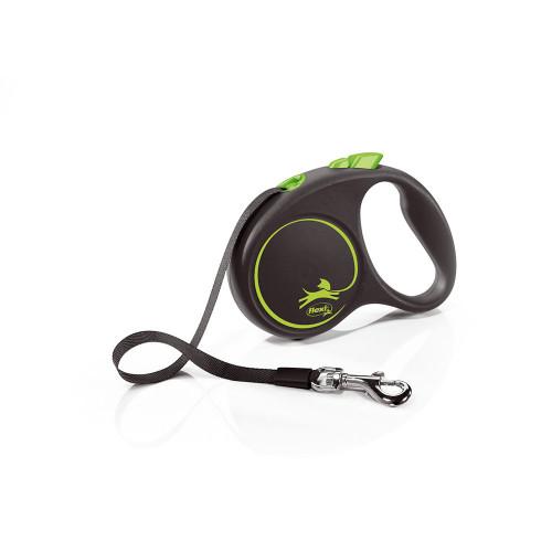 Елегантен и модерен автоматичен повод за кучета Flexi Black Design S Green с лента 5 м