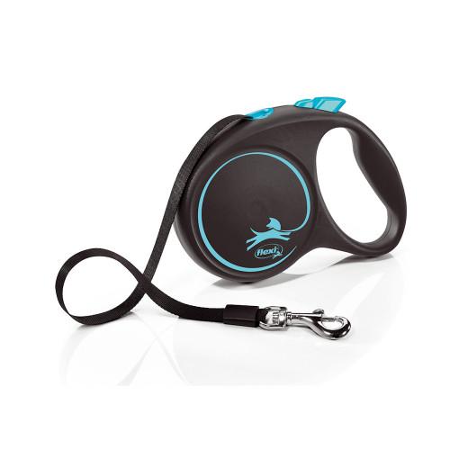 Елегантен и модерен автоматичен повод за кучета Flexi Black Design L с лента 5 м - Blue