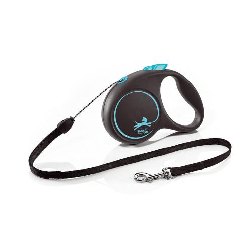 Елегантен и модерен автоматичен повод за кучета Flexi Black Design S с въже 5 м - Blue
