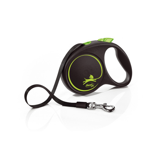 Елегантен и модерен автоматичен повод за кучета Flexi Black Design M с лента 5 м - Green