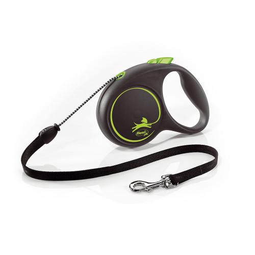 Елегантен и модерен автоматичен повод за кучета Flexi Black Design M с въже 5 м - Green