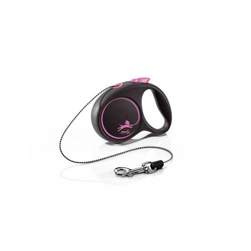 Елегантен и модерен автоматичен повод за кучета Flexi Black Design XS с въже 3 м - Pink