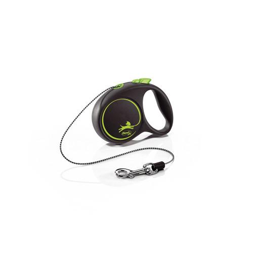 Елегантен и модерен автоматичен повод за кучета Flexi Black Design XS с въже 3 м - Green