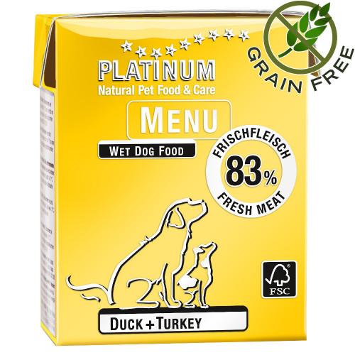 """Задушено месо """"Platinum Menu Duck & Turkey"""" 375 гр - консерва за кучета с най-високо качество"""