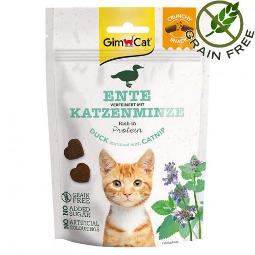 Вкусно лакомство за котки Crunchy Snack Патица & Котешка Трева - 50гр