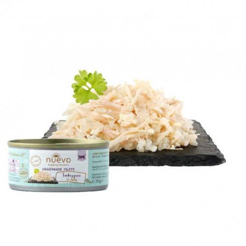 Суперпремиум храна за котки - Nuevo Handmade Filets 70 гр - пуешки филенца в желе