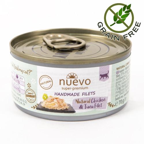 Суперпремиум храна за котки - Nuevo Handmade Filets 70 гр - пилешки филенца и риба тон в собствен сос
