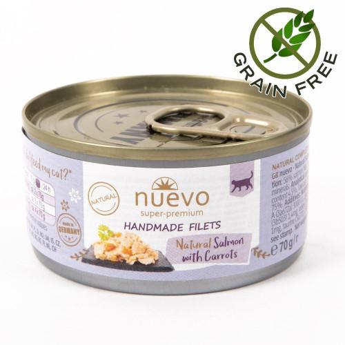Суперпремиум храна за котки - Nuevo Handmade Filets 70 гр - филенца от сьомга с моркови в собствен сос
