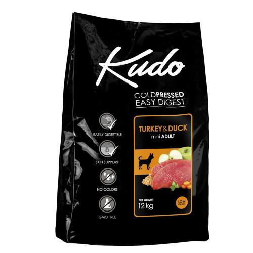 Студено пресована храна за кучета от мини породи Kudo Low Grain Turkey & Duck - Adult Dog Mini 12kg + 3 гратис