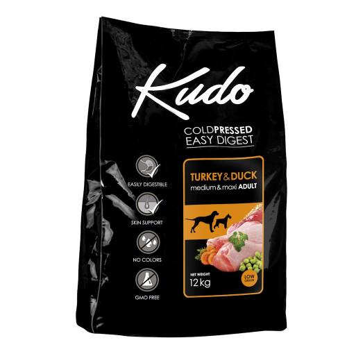Студено пресована храна за кучета от средни и големи породи Kudo Low Grain Turkey & Duck - Adult Dog Medium & Maxi 12kg