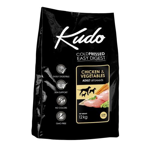 Студено пресована храна за кучета Kudo Low Grain Chicken - Adult Dog 12kg + 3 гратис