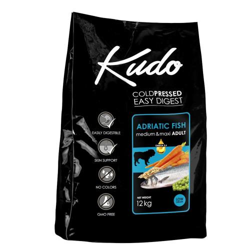 Студено пресована храна за кучета от средни и големи породи Kudo Low Grain Adriatic Fish - Adult Dog Medium & Maxi 12kg