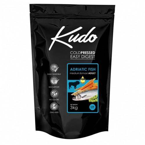 Студено пресована храна за кучета от средни и големи породи Kudo Low Grain Adriatic Fish - Adult Dog Medium & Maxi 3kg
