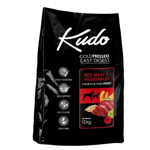 Студено пресована храна за кучета от средни и големи породи Kudo Low Grain Red Meat - Adult Dog Medium & Maxi 12kg + 3 гратис