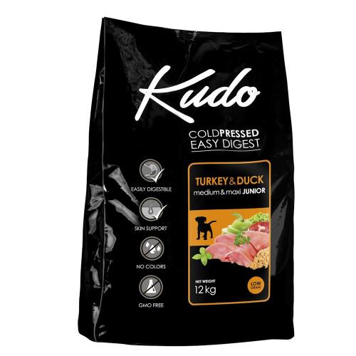 Студено пресована храна за кученца от средни и големи породи Kudo Low Grain Turkey & Duck - Puppy Medium & Maxi 12kg + 3 гратис