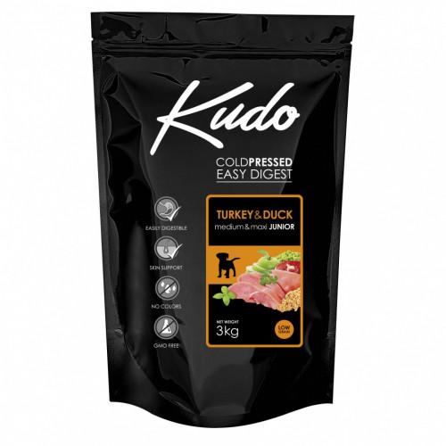 Студено пресована храна за кученца от средни и големи породи Kudo Low Grain Turkey & Duck - Puppy Medium & Maxi 3kg
