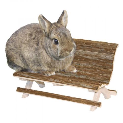Дървена пейка Nature - аксесоар за клетка на декоративно зайче