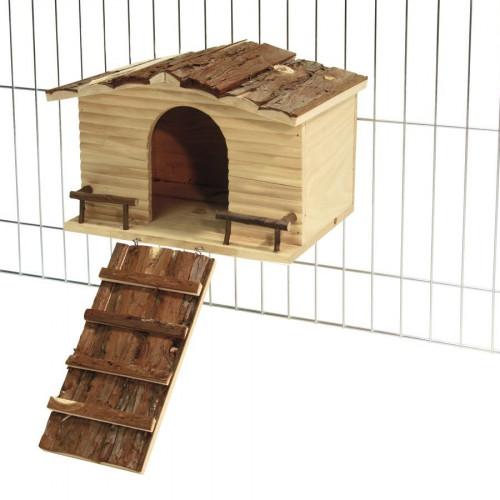 Дървена къщичка за закрепване към решетка Nature Cage - къщичка за гризачи