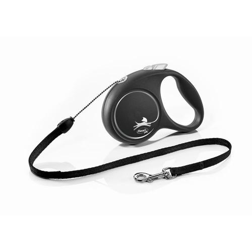 Елегантен и модерен автоматичен повод за кучета Flexi Black Design S с въже 5 м - Black