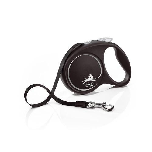 Елегантен и модерен автоматичен повод за кучета Flexi Black Design M с лента 5 м - Black