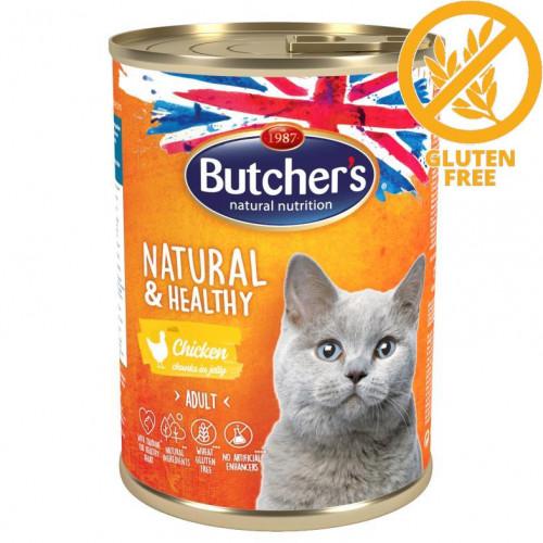Консерва за котки - хапки пилешко в желе Butcher's Cat Natural & Healthy Chicken 400 гр