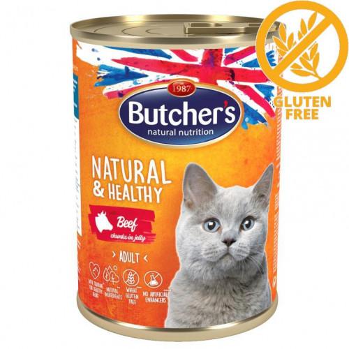 Консерва за котки - хапки говеждо в желе Butcher's Cat Natural & Healthy Beef Chunks - 400 гр