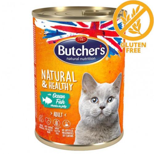 Консерва за котки - хапки океанска риба в желе Butcher's Cat Natural & Healthy Ocean Fish Chunks - 400 гр