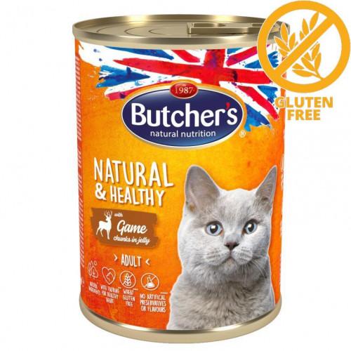 Консерва за котки - хапки дивеч в желе Butcher's Cat Natural & Healthy Game Chunks - 400 гр