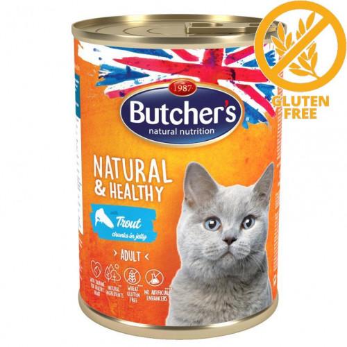 Храна за котки - хапки пъстърва в желе Butcher's Cat Natural & Healthy Trout Chunks 400 гр