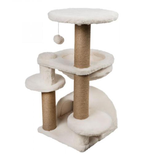 Двоен скрачер-катерушка за котки 65 х 65 х 84 см - цвят бял