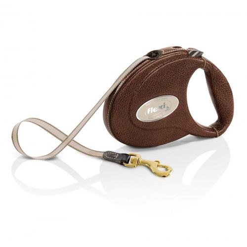 Екстремно луксозен автоматичен повод за кучета Flexi® Leather кафяв
