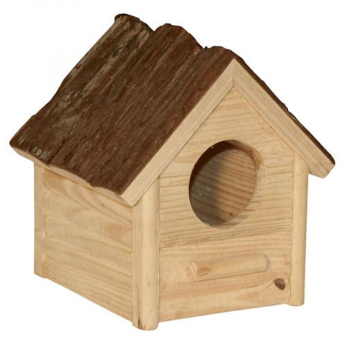 Колибка за клетка на малки гризачи Kerbl Hamster House Nature - 12 х 10 х 13 см