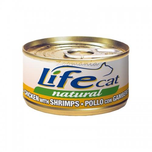 """Консерва Life Natural Cat """"Пиле със скариди"""" - 85 гр"""