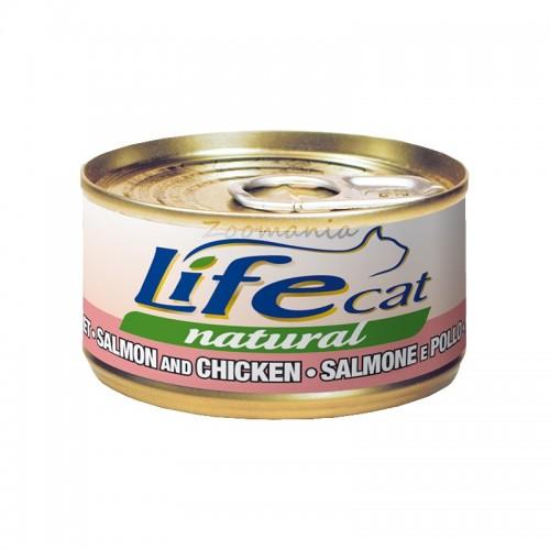 "Консерва Life Natural Cat ""Сьомга и пиле"" - 85 гр"