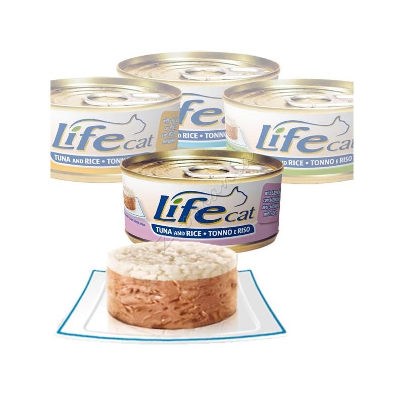 "Консерва за котки ""Lifecat Туна със сьомга и ориз"" - 170 гр"