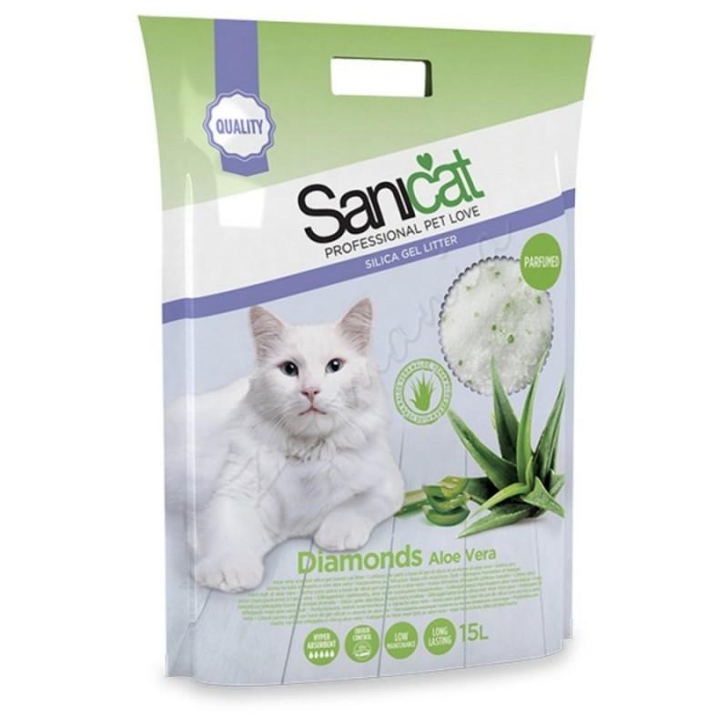 Абсорбент за котешка тоалетна - Sanicat Diamonds Aloe Vera – 15 л.