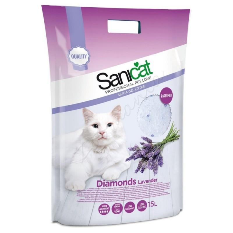 Пясък за котешка тоалетна - Sanicat Diamonds Lavender – 5 л.