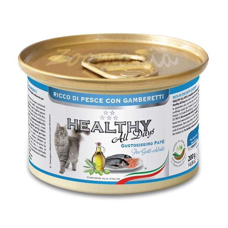 """Консерва за котки - Healthy All days Cat """"Риба със скариди"""""""